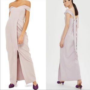 Topshop Lavender crepe off the shoulder gown Sz 8